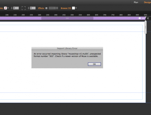 Adobe Muse Unexpected Format Number 363 error