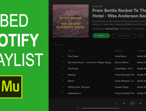 How to embed a Spotify playlist in Adobe Muse