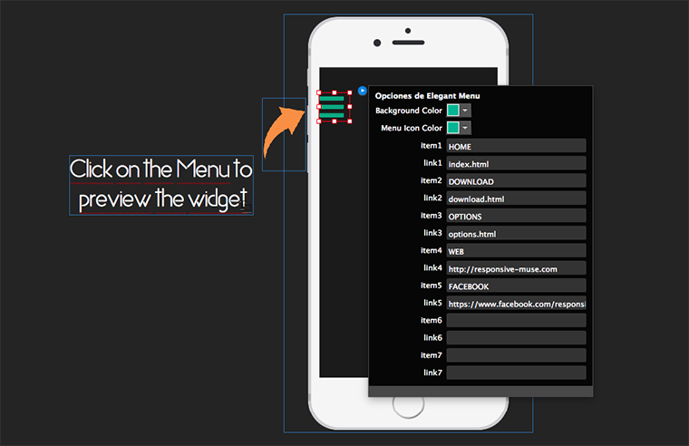 Responsive elegant menu responsive muse templates for Adobe muse mobile templates