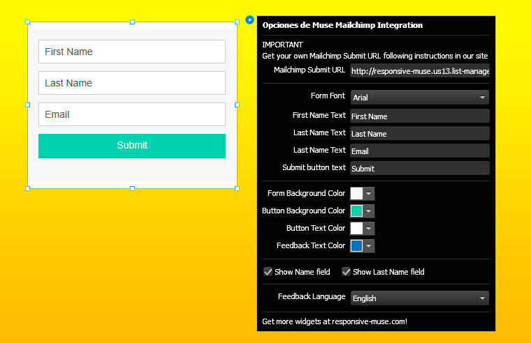 Free Muse Mailchimp Newsletter Responsive Muse Templates Widgets