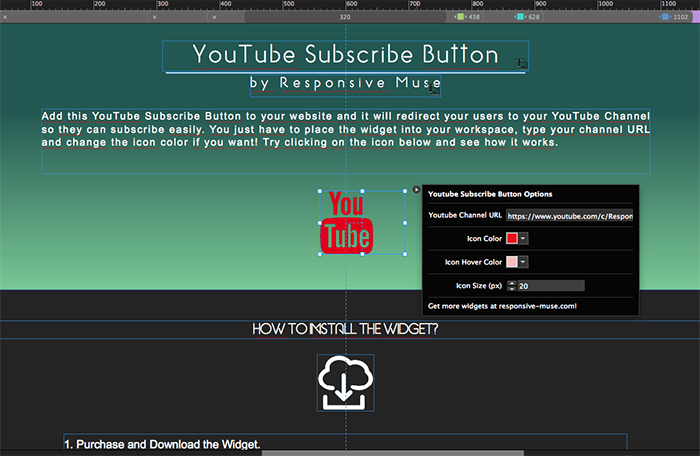 Youtube Subscribe Button Responsive Muse Templates Widgets