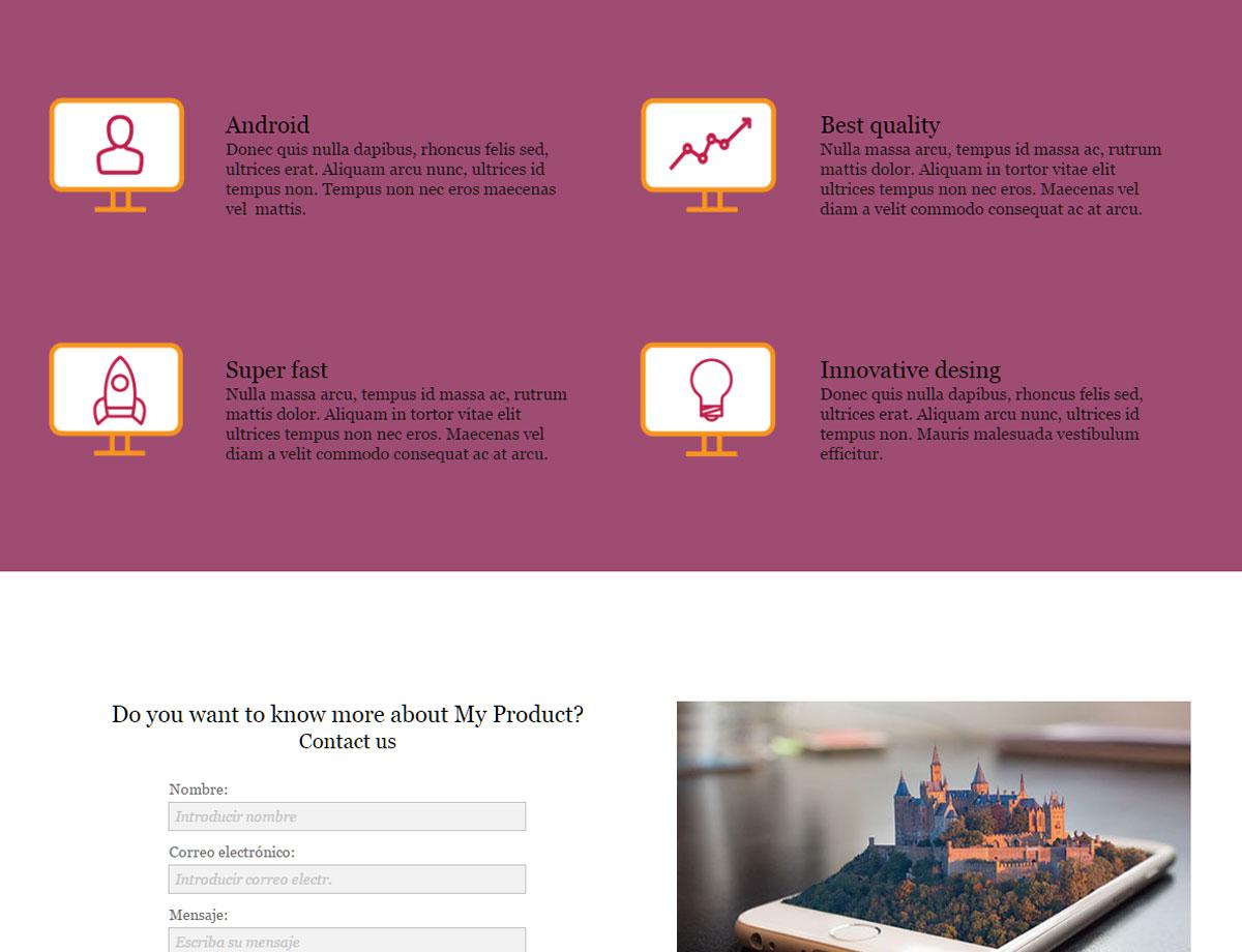 product landing page responsive muse templates widgets. Black Bedroom Furniture Sets. Home Design Ideas