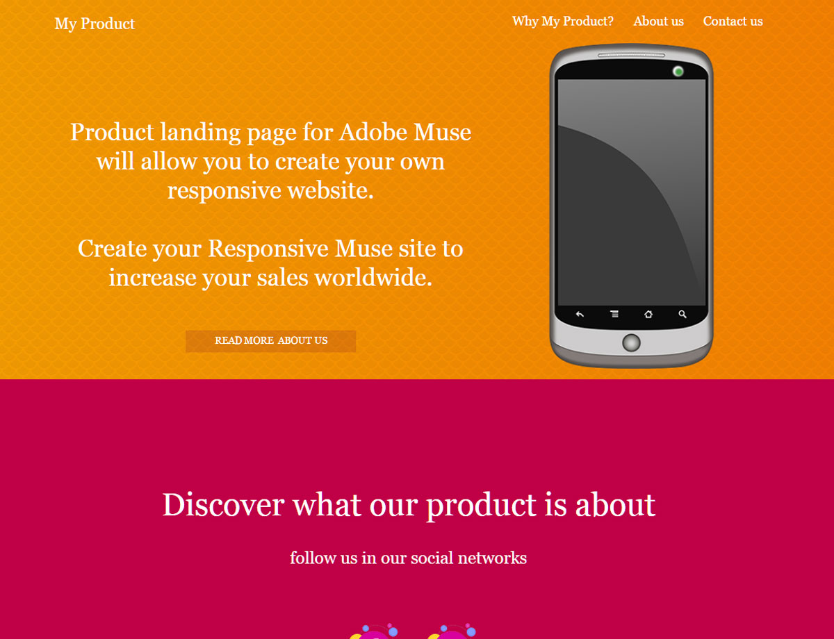 Product landing page responsive muse templates widgets maxwellsz