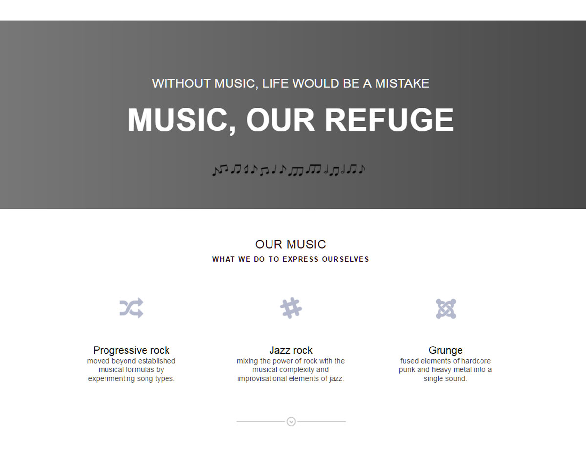 Band One Page Template - Responsive Muse - Templates & Widgets