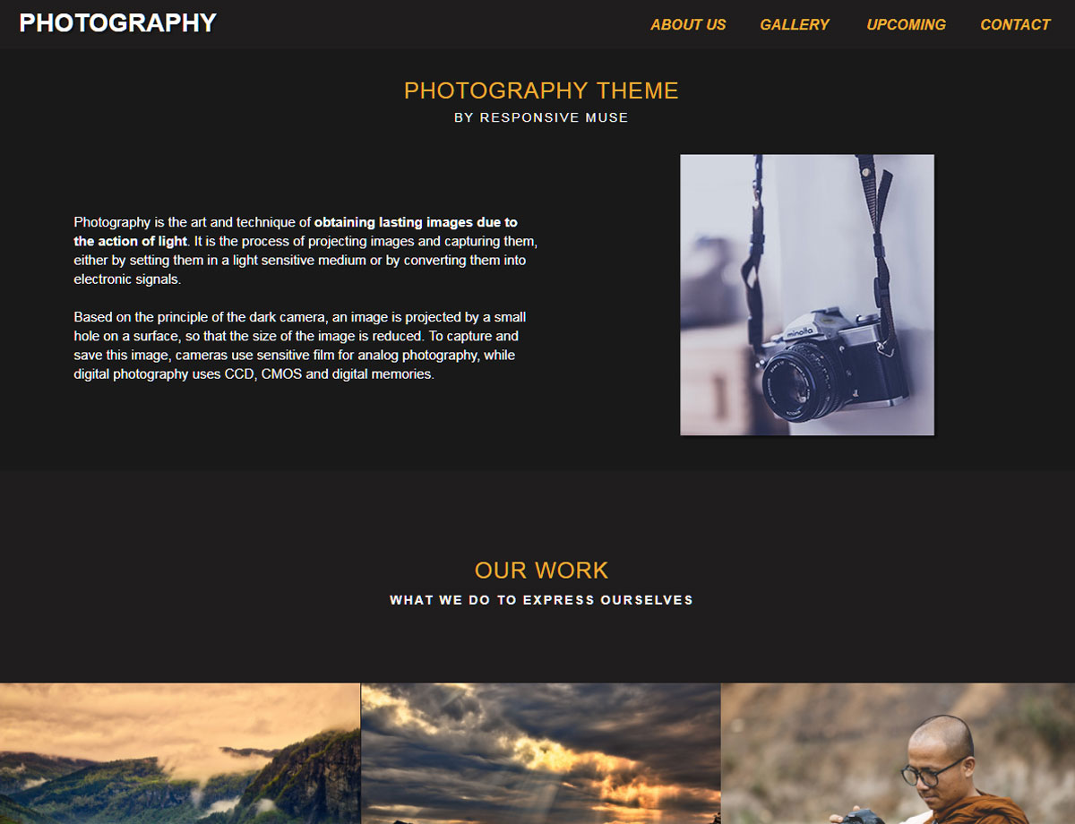 Photography Template - Responsive Muse - Templates & Widgets