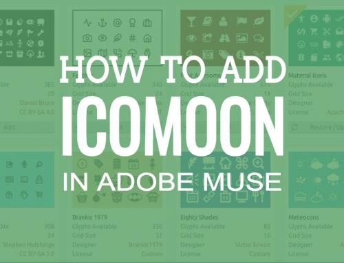 How to add a selection of icons from IcoMoon to Adobe Muse