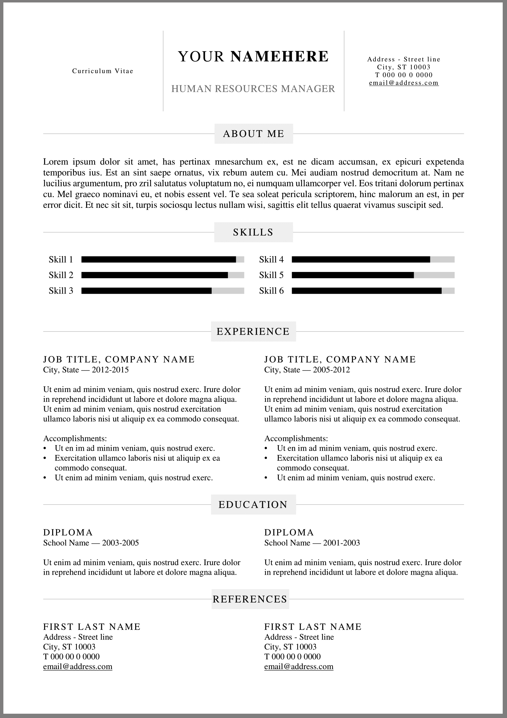 20 Free Resume Word Templates To Impress Your Employer Responsive - Template-resume-word