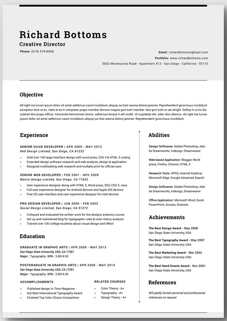 of information to include in your resume and you also want to show it in a professional and timeless way you can do it with this open page cv template