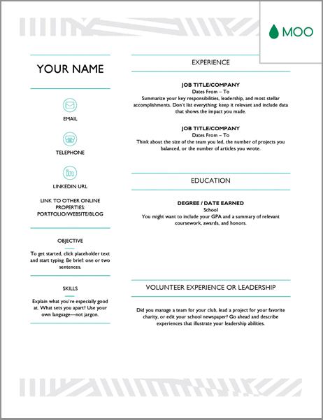 this is a creative one page resume designed by moo company to present yourself to hiring managers when you still do not have lots of work experience