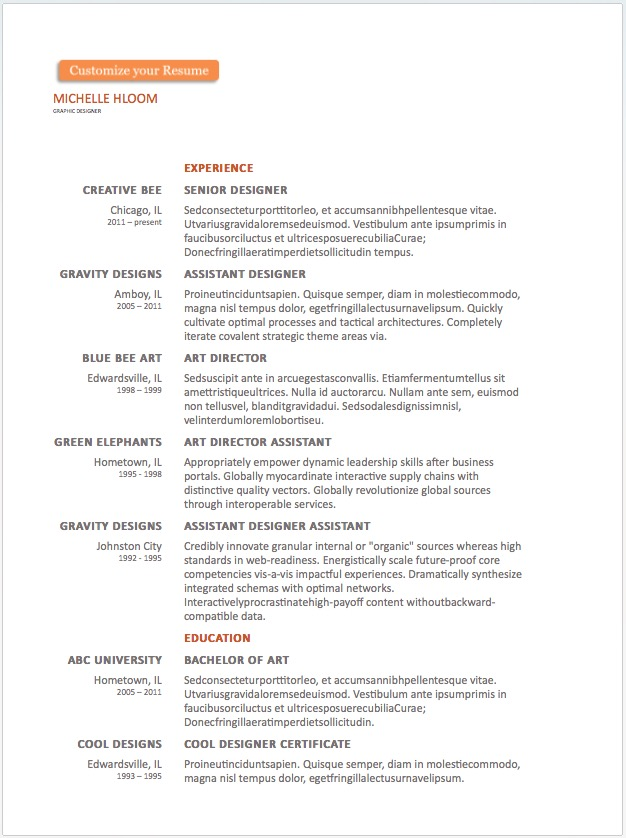 a basic resume divided into two sections experience and education if you are a applying for a formal job this template is a great start to present your - Word Resume Templates Free