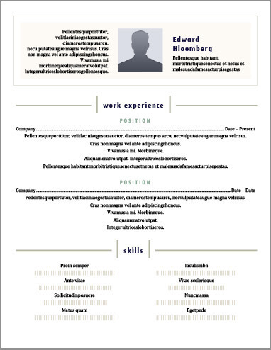 cv template but also want a little bit of design this centered layout to add your picture personal details work experience detailing your position
